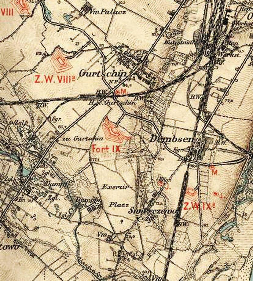 1892 r. źródło: http://www.walkowiak.pl/Poznan_mapy/ Została oddana do użytku ulica Okrężna (obecna Czechosłowacka), która łączyła ze sobą poszczególne forty dookoła Poznania.