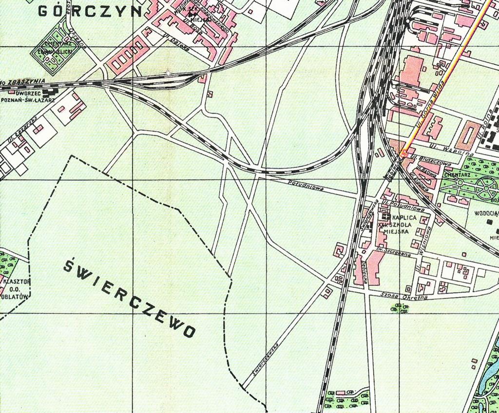 1929 r. źródło: http://www.walkowiak.pl/Poznan_mapy/ Świerczewo nadal poza granicami Poznania, do którego 4 lata wcześniej został przyłączony Dębiec, stąd Górczynka stała się tym samym południową granicą miasta. Świerczewo w 1925 roku tym roku liczyło 203 mieszkańców, to jest 36 rodzin (w tym 3 wdowy).