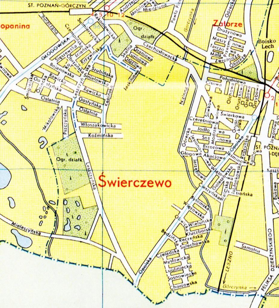 1958 r. Rozpoczyna się budowa osiedla domów jednorodzinnych na Świerczewie (okolice ul. Kępińskiej). W 1956 r. w ówczesnej Miejskiej Pracowni Urbanistycznej powstaje szczegółowy plan dla Świerczewa, a rok później - plany koordynacyjne dla południowej i północnej części Świerczewa w skalach 1:2000 oraz 1:1000.