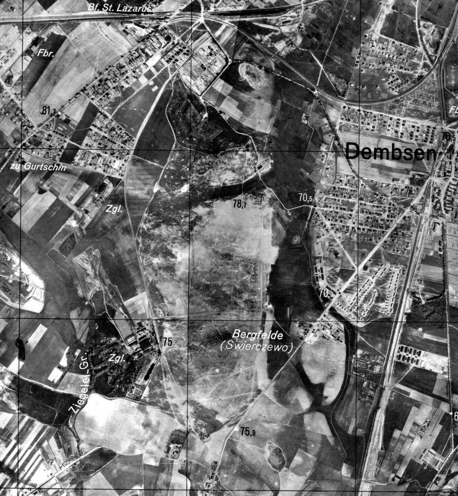 Początek lat 40 XX wieku. Nie ma większości stawów na Szachtach, nie ma też osiedla domków - zamiast niego ogromny poligon wojskowy.